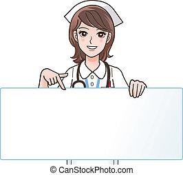 sygeplejerske, smil, cute, pege
