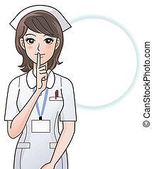 sygeplejerske, spørge, unge, stilhed