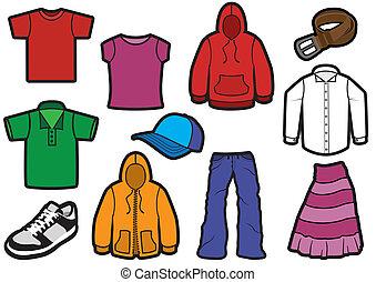 symbol, beklæde, bold, set.