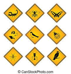 symbol, dyr, tegn