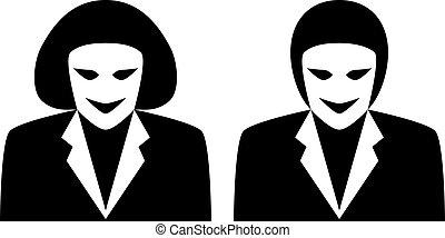 symbol gender, -, avatars, vektor, kvindelig, stilfuld, mandlig