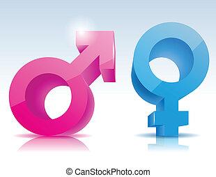symbol, mandlig, kvindelig