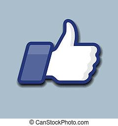 symbol, oppe, gråne, baggrund, like/thumbs, ikon