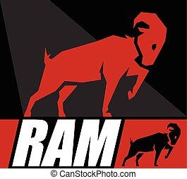 symbol, ram., eller, konstruktion, begrebsmæssig, goat