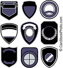 symbol, sæt, emblem, skjold