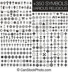 symboler, adskillige, 350, vektor, religio
