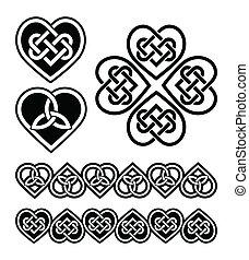 symboler, hjerte, knude, -, keltisk, vektor