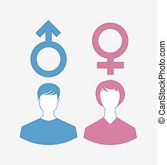 symboler, køn, mandlig, iconerne, kvindelig