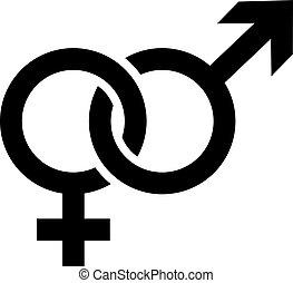 symboler, køn, mandlig, kvindelig