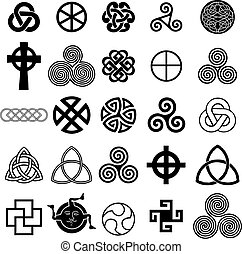 symboler, keltisk, sæt, vector., iconerne