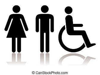 symboler, lavatory, disabled