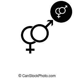 symboler, mandlig, hvid, kvindelig, ikon, -, vektor