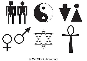 symboler, mandlig, kvindelig