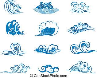 symboler, sæt, bølge