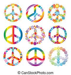 symboler, sæt, fred