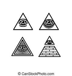 symboler, seende, al, sæt, øje