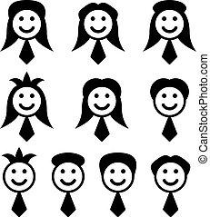 symboler, vektor, mandlig, kvindelig ansigt
