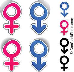 symboler, vektor, mandlig, kvindelig