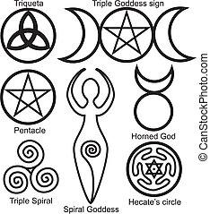 symboler, wiccan, sæt