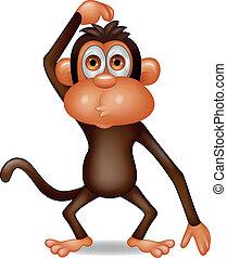tænkning, abe, cartoon