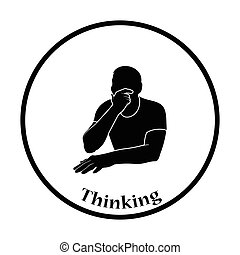 tænkning, mand, ikon