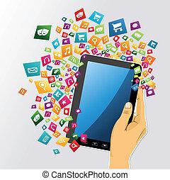 tablet, app, icons., hånd, pc., menneske, digitale