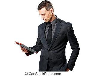 tablet, isoleret, computer, baggrund, forretningsmand, bruge, hvid