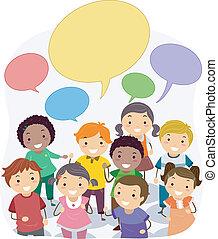 tale, bobler, børn, stickman, blank