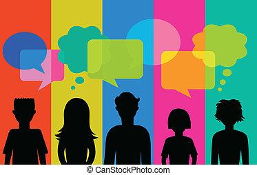 tale, bobler, silhuet, unge mennesker