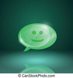 tale, ikon, boble, blanke, smile