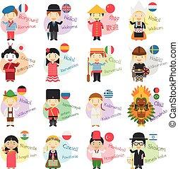 talemåde, forskellige, 16, velkommen, illustration, cartoon, sprog, vektor, bogstaverne, hallo