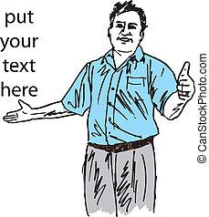 talemåde, skitse, hans, godke, tommelfinger oppe, illustration, tegn, vektor, indgåelse, symbol., mand