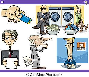 talemåder, sæt, cartoon, begreb