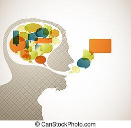 taler, abstrakt, silhuet, bobler