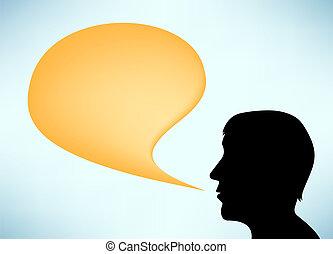 taler, abstrakt, silhuet, mand