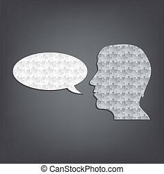 taler, abstrakt, silhuet, opgave, mand