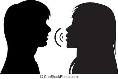 tales, silhuetter, kvinder, to, unge