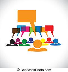 talking(speech, begreb, og, graphic-, arbejdere, vektor, bubbles), leder