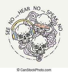 tatovering, grafik, kranium, skulls., farve, tre, illustration, vektor, menneske, komposition