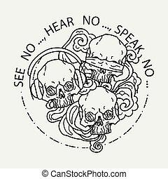 tatovering, grafik, kranium, skulls., tre, illustration, vektor, sort, menneske, hvid, komposition