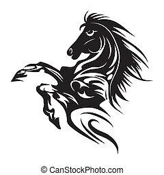 tatovering, hest, emblem, symbol, isoleret, eller, konstruktion, logo, hvid, template.