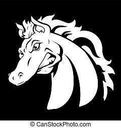 tatovering, hest, vektor