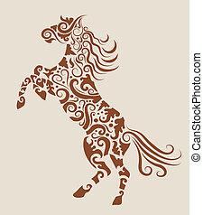 tatovering, hest, vektor, konstruktion