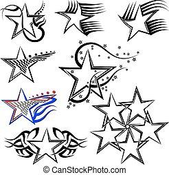 tatovering, konstruktion, stjerne