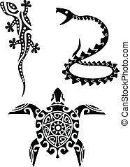 tatovering, reptil, stamme