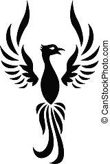 tatovering, silhuet, phoenix