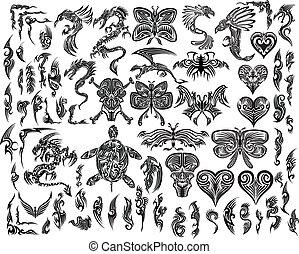 tatovering, stamme, vektor, sæt, iconic