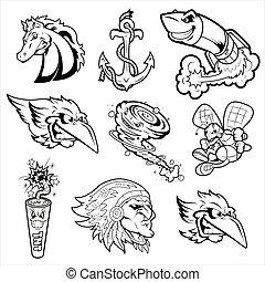 tatoveringer, adskillige, bogstaverne, mascot