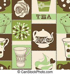 te, retro, mønster, seamless, cupcake