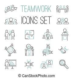 teambuilding, firma, teamwork, iconerne, udkast